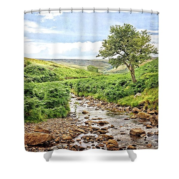 River And Stream In Weardale Shower Curtain