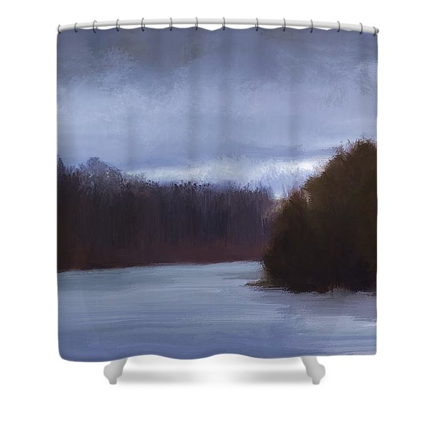 River Bend In Winter Shower Curtain