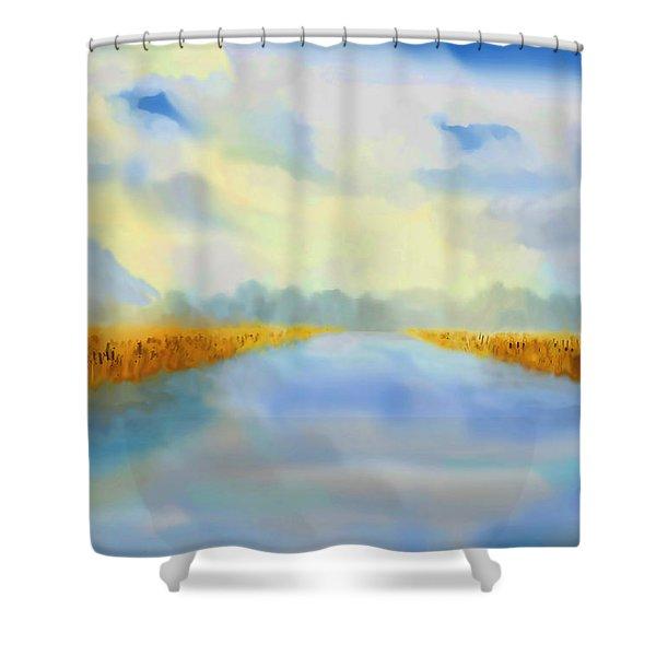 River Blue Shower Curtain