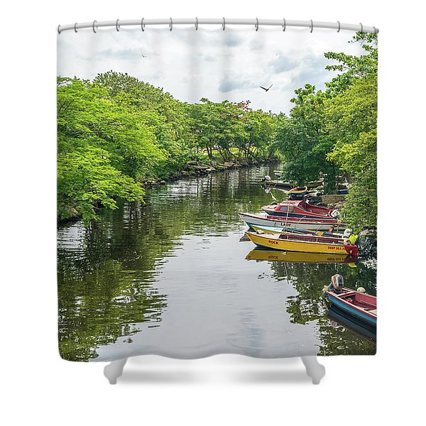 River Boat Dock Shower Curtain