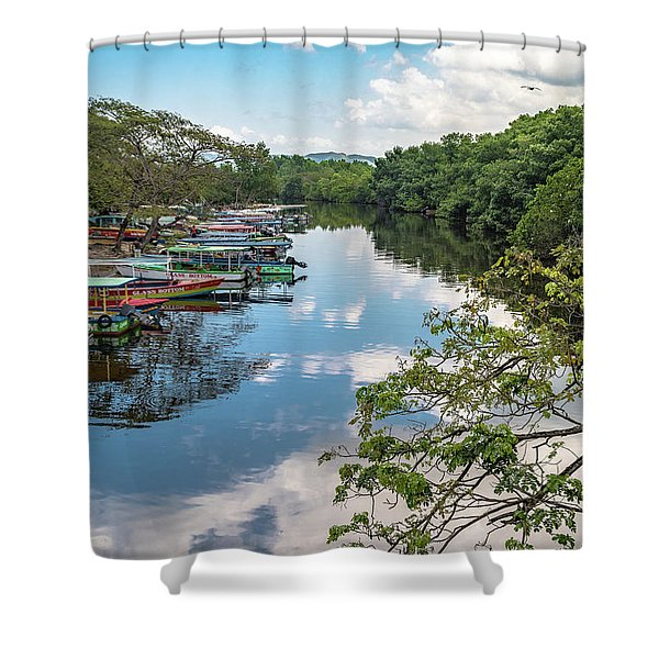 River Boats Docked In Negril, Jamaica Shower Curtain