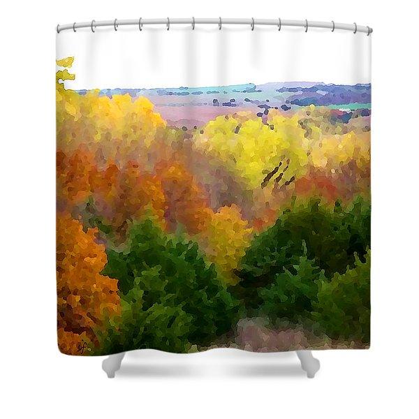 River Bottom In Autumn Shower Curtain
