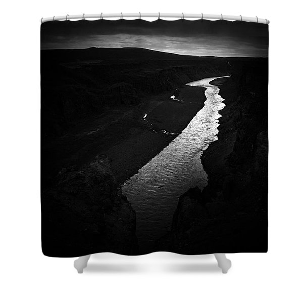 River In The Dark In Iceland Shower Curtain