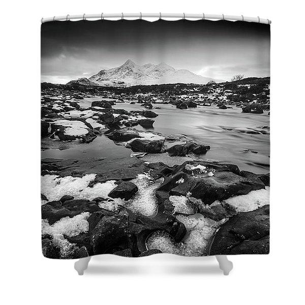 River Sligachan And Black Cuillin, Isle Of Skye Shower Curtain