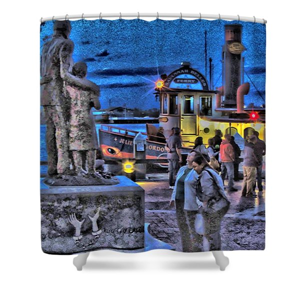 River Street Blues Shower Curtain