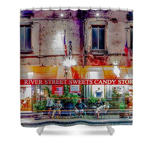 Shower Curtain featuring the photograph River Street Sweets Candy Store Savannah Georgia   by Alex Grichenko