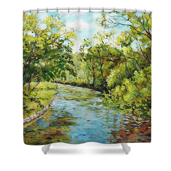 River Through The Forest Shower Curtain