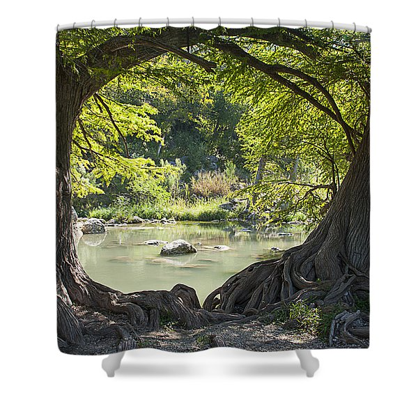River Through Trees Shower Curtain