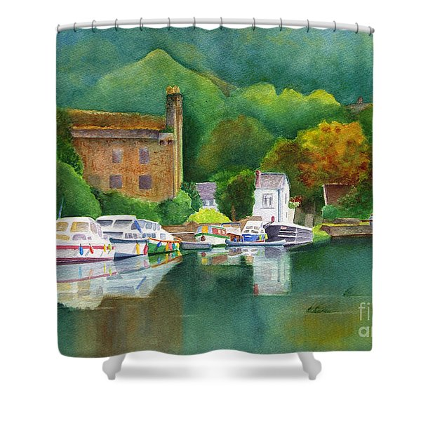 Shower Curtain featuring the painting Riverboats by Karen Fleschler