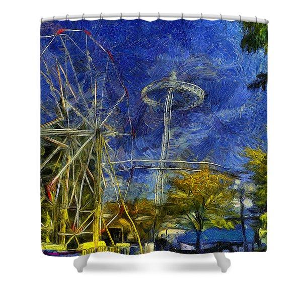 Riverfront Park - Pavilion And Ferris Wheel Shower Curtain