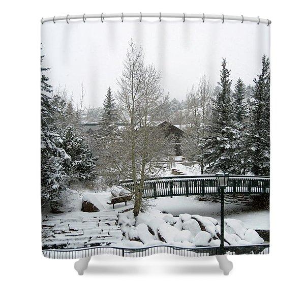 Riverside Bridge February Snow Shower Curtain