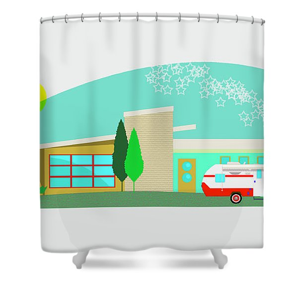 Riverside Retro Rv Shower Curtain