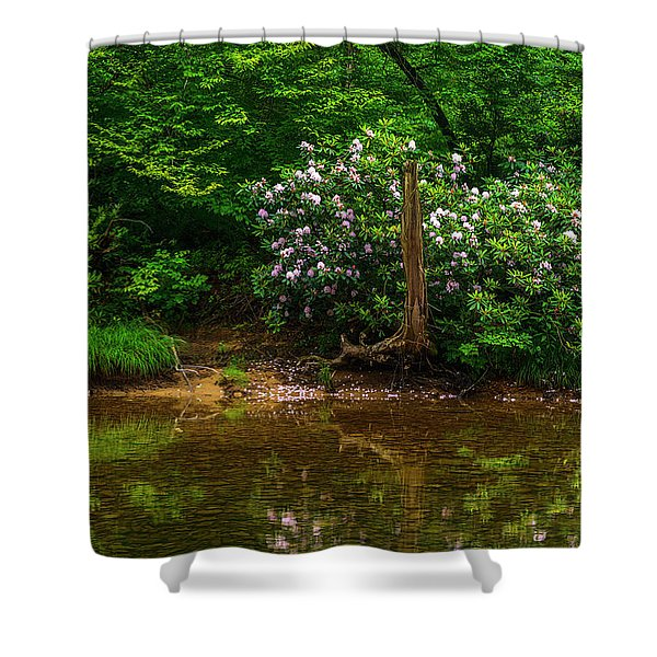Riverside Rhododendron Shower Curtain