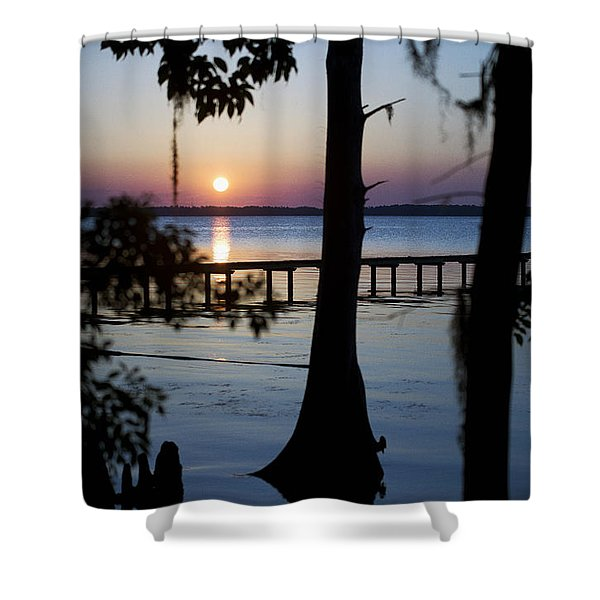 Riverside Sunset Shower Curtain