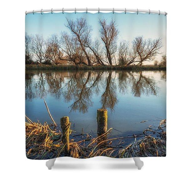 Riverside Trees Shower Curtain