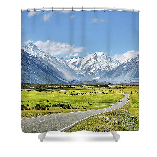 Road To Aoraki Shower Curtain