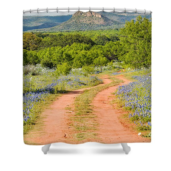 Road To Bluebonnet Heaven - Willow City Loop Texas Hill Country Llano Fredericksburg Shower Curtain