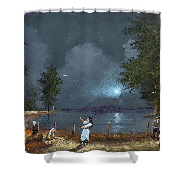 Shower Curtain featuring the painting Road To Galway by Ken Wood