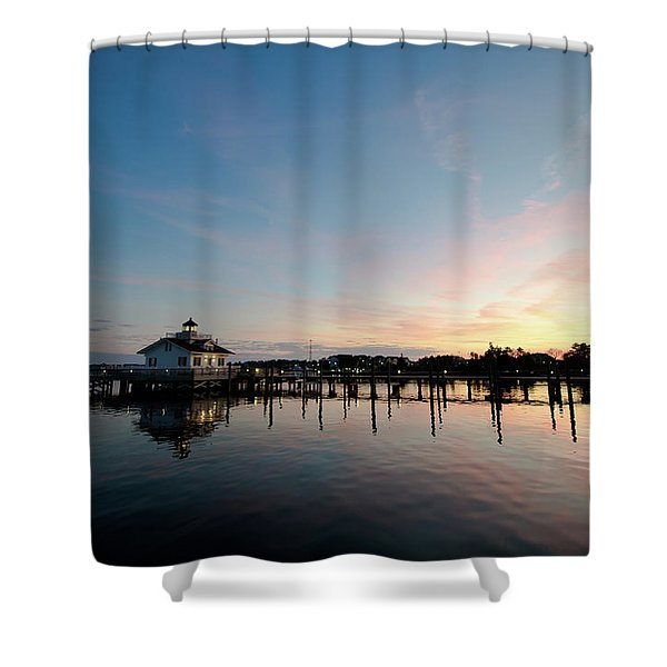 Roanoke Marshes Lighthouse At Dusk Shower Curtain