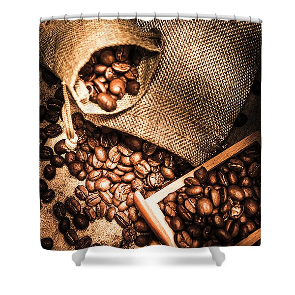 Roasted Coffee Beans In Drawer And Bags On Table Shower Curtain