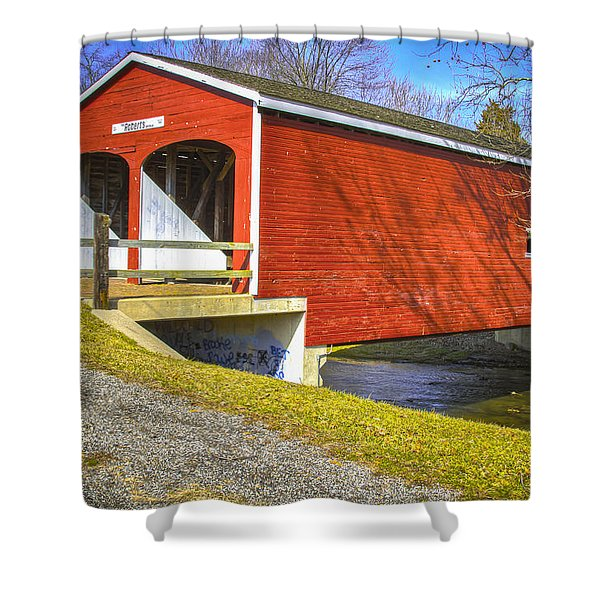 Roberts Covered Bridge Shower Curtain