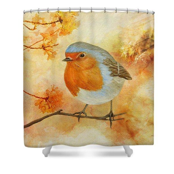 Robin Among Flowers Shower Curtain