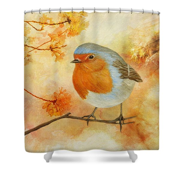 Robin Among Flowers Shower Curtain