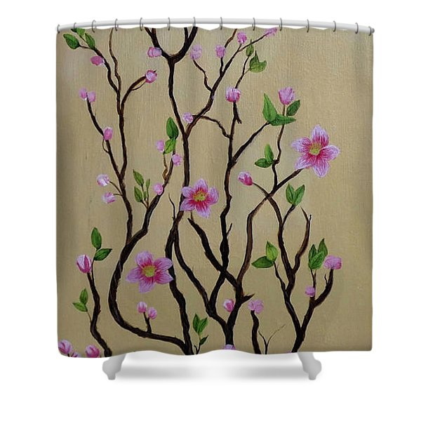 Robin And Spring Blossoms Shower Curtain
