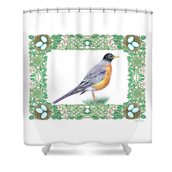 Robin In Spring Shower Curtain