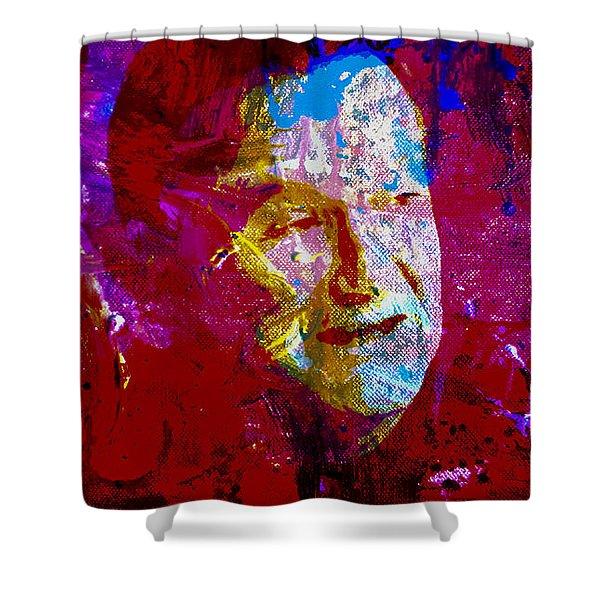 Robin Williams Paint Splatter Shower Curtain
