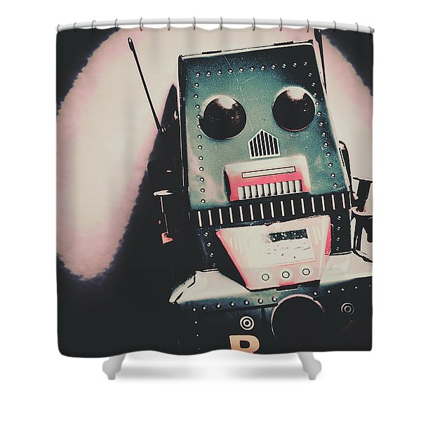 Robotic Mech Under Vintage Spotlight Shower Curtain