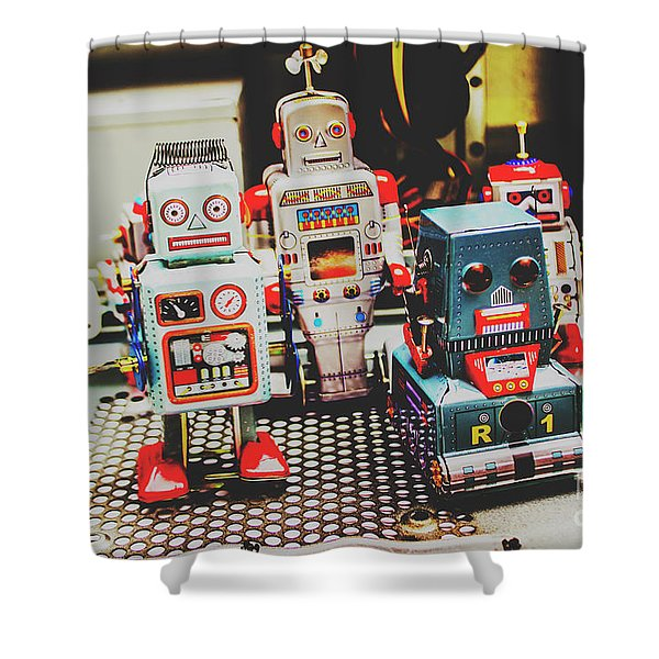 Robots Of Retro Cool Shower Curtain