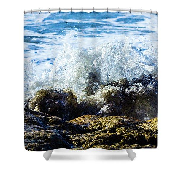 Wave Meets Rock Shower Curtain
