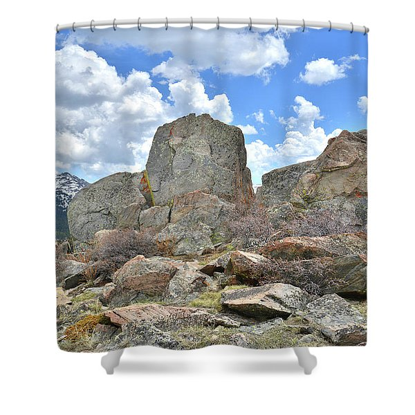 Rock Cropping At Big Horn Pass Shower Curtain