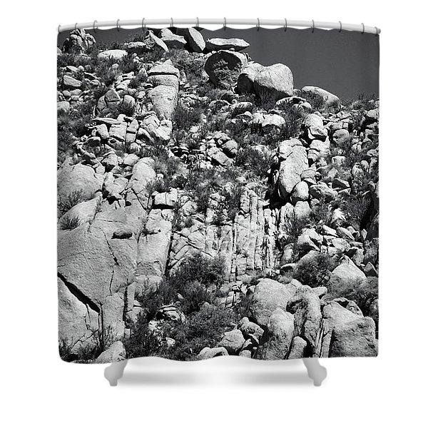 Rock Face Sandia Mountain Shower Curtain