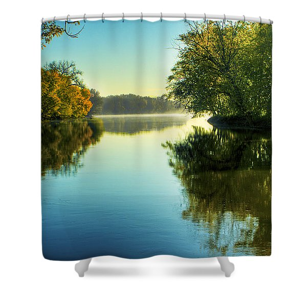 Rock River Autumn Morning Shower Curtain