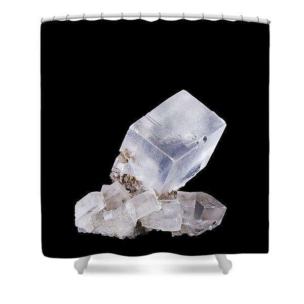 Rock Salt Crystal Cluster Front View On Black Background Shower Curtain