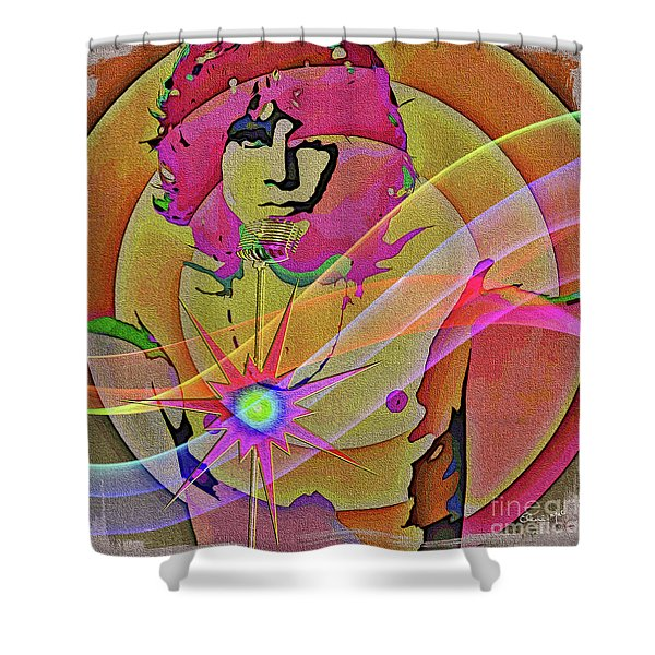 Shower Curtain featuring the digital art Rock Star by Eleni Mac Synodinos