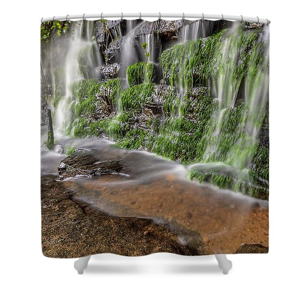 Rock Wall Waterfall Shower Curtain