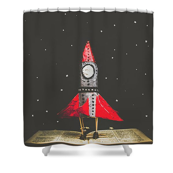 Rockets And Cartoon Puzzle Star Dust Shower Curtain