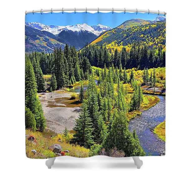 Rockies And Aspens - Colorful Colorado - Telluride Shower Curtain