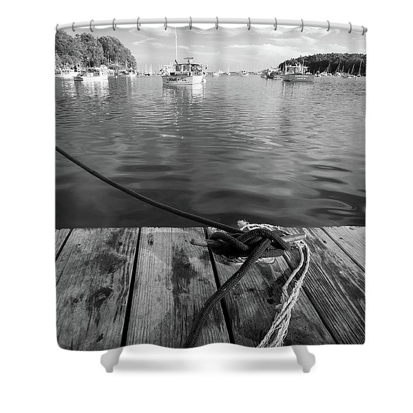 Rockport Harbor, Maine #80458-bw Shower Curtain