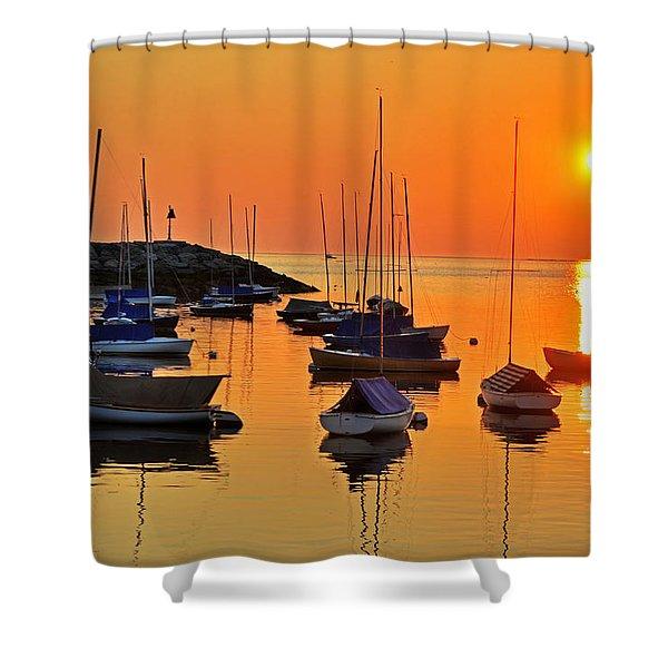 Rockport Ma Boats Rockport Harbor Shower Curtain
