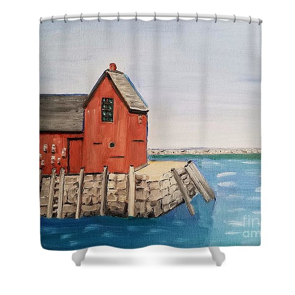 Rockport Motif In Winter Shower Curtain