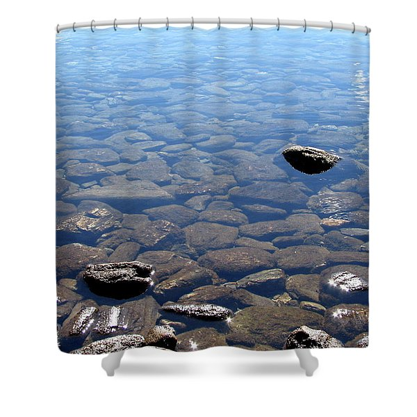 Rocks In Calm Waters Shower Curtain