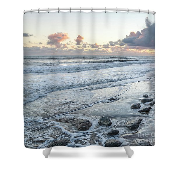 Rocks On The Beach During Sunset Shower Curtain