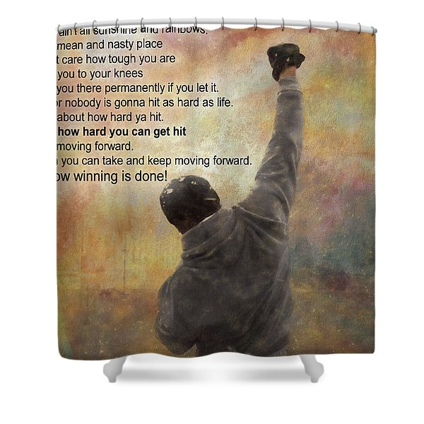 Rocky Balboa Inspirational Quote Shower Curtain