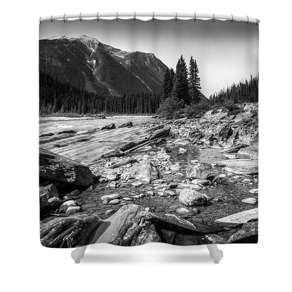 Rocky Banks Of Kootenay River Shower Curtain