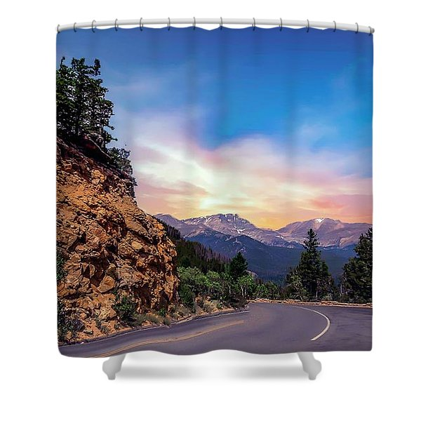 Rocky Mountain High Road Shower Curtain