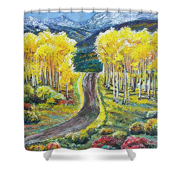 Rocky Mountain Road Shower Curtain